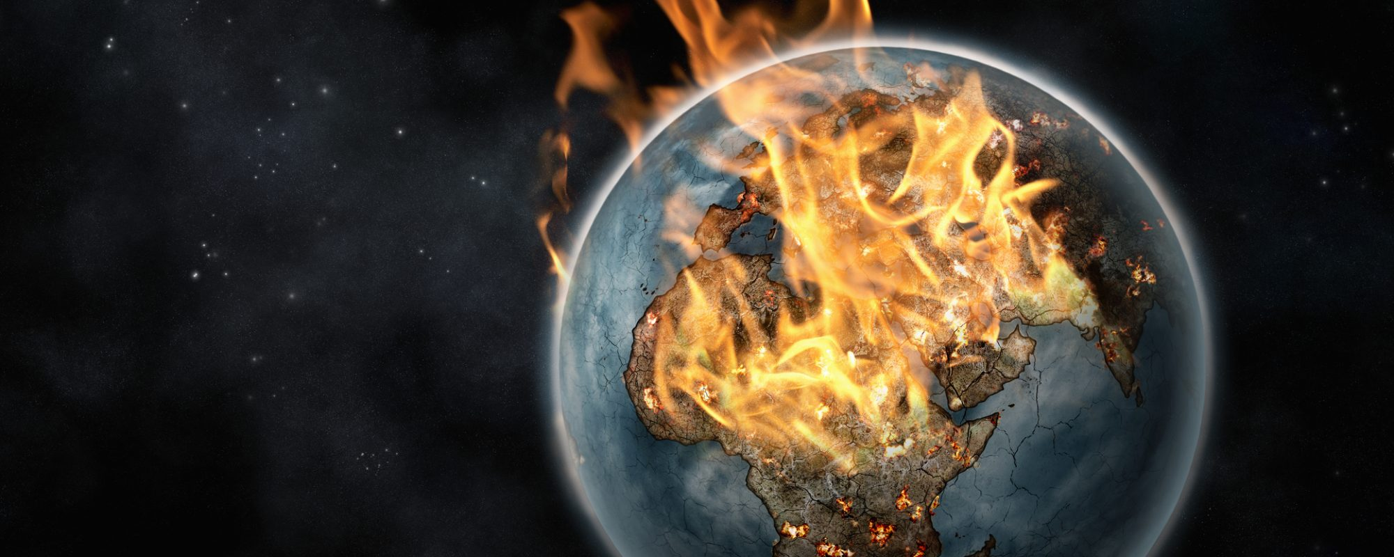 Digitally created image of the planet Earth erupting in flames viewed from space against a digitally created starry background. Africa, Europe and India are prominent beneath the flames. All photographic material in the image is original and has been created by me, Nick White and I have provided a release for that if it is necessary. The outline of the countries is hand drawn.