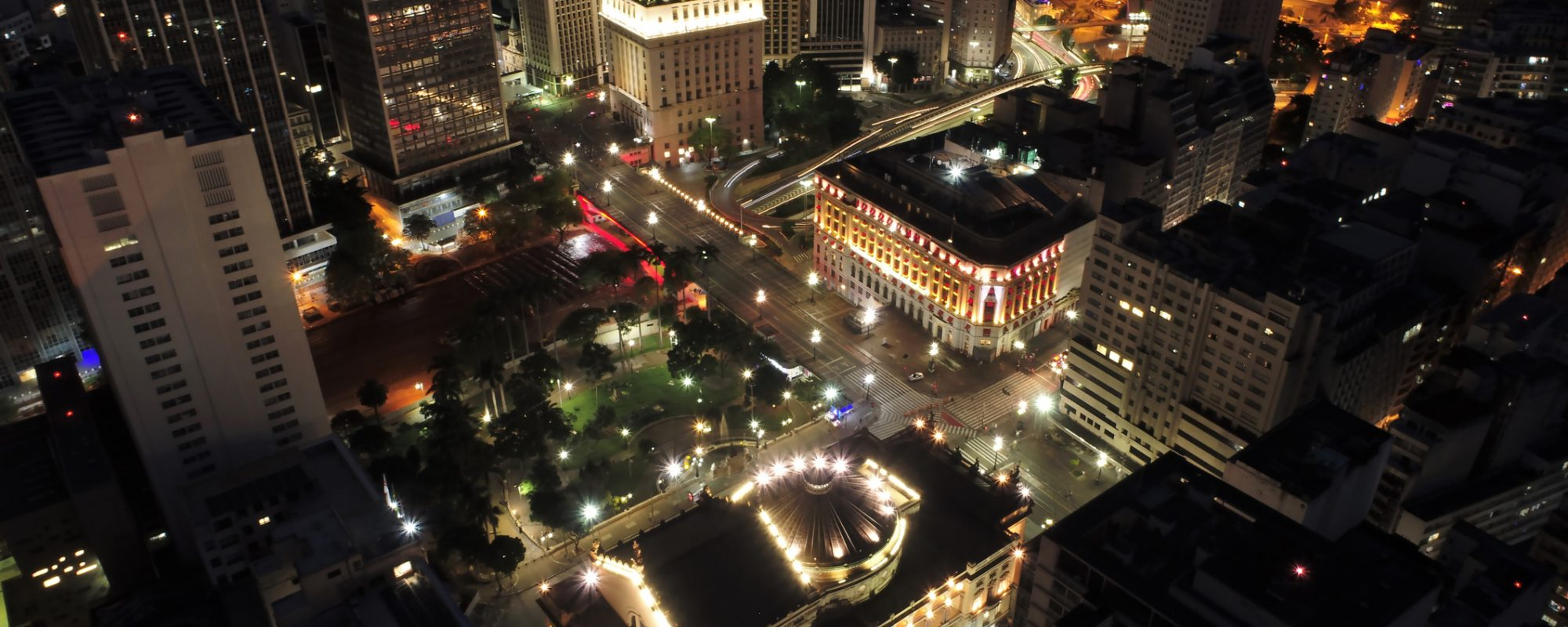 Aerial view of public buildings at night. Famous places of São Paulo, Brazil. Great landscape