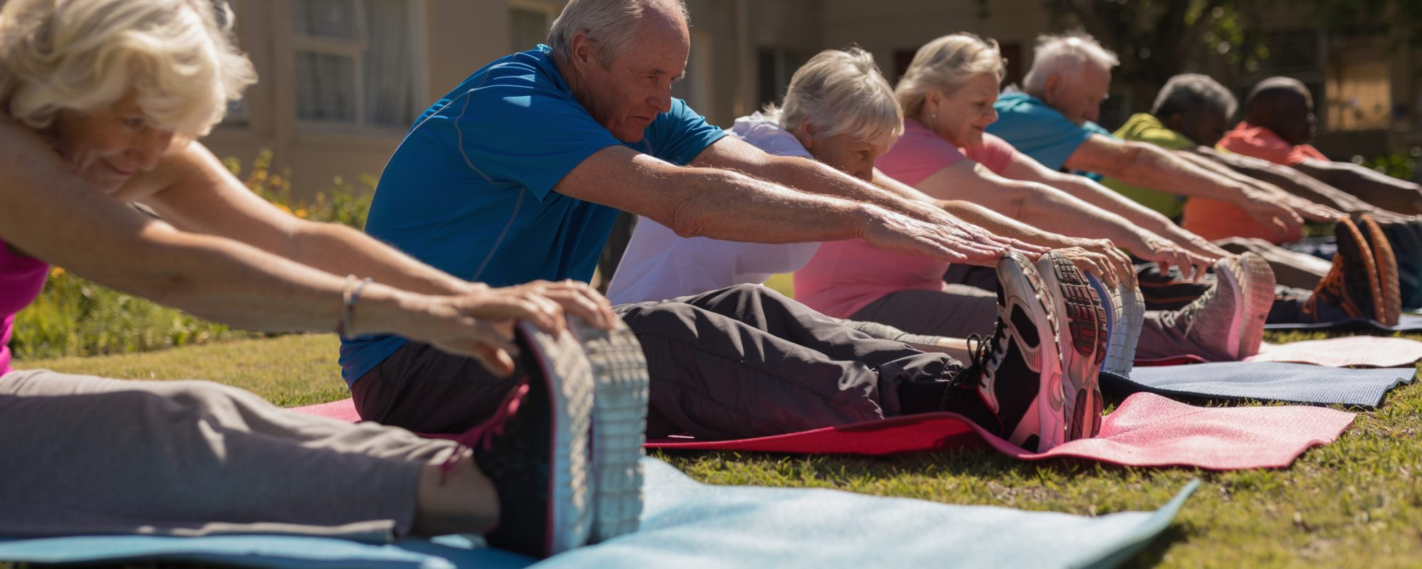 Side view of group of active senior people exercising and scretching ones legs on yoga mat in the park